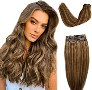 Clip in Human Hair Extensions Ash Brown to Ash Blonde Highlights Invisible Skin Weft Clip in Extensions 7pcs 16Inch PU Weft Clip in Real Hair Extensions with Blonde Highlights 100 Gram for Women