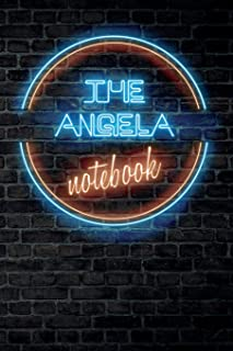 The ANGELA Notebook: Vintage Blank Ruled Personalized & Custom Neon Sign Name Dotted Notebook Journal for Girls & Women. W...