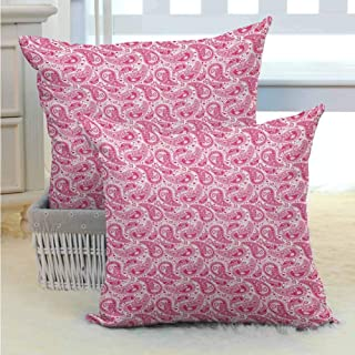 Breathable Pillowcase Hippie,Abstract and Vintage Leaves Bohemian Oriental Sacred Motif in Pink Shades, Magenta and White Microfiber Sofa Cushion Cover Bedroom car Decoration W14 x L14 inch x 2