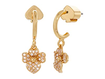 Kate Spade New York Precious Pansy Pave Huggies Earrings (Clear/Gold) Earring