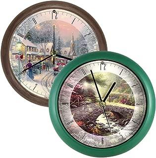 Thomas Kinkade (Set) Christmas Village Musical & Bridge of Faith Wall Clock