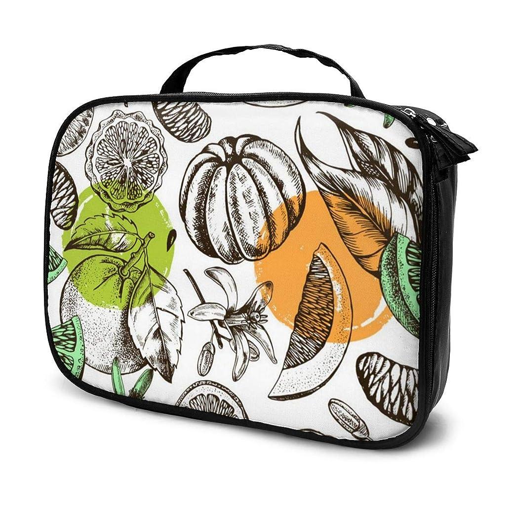 汗チャペル所有者収納袋柑橘系の果物と花化粧品袋耐摩耗性軽量ポータブル高品質大容量旅行ポーチバスルームポーチ旅行小物整理約8×25×19cm