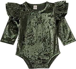 طفلة رومبير لينة الرجعية تتسابق الوليد يطير الأكمام داخلية الصلبة المخملية بذلة قطعة واحدة (Color : Green, Size : 18M)