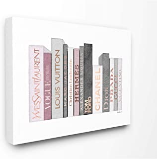 Stupell Industries Fashion Designer Bookstack Pink Grey Watercolor Canvas Wall Art, Multi-Color
