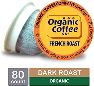 The Organic Coffee Co. OneCup, French Roast, Single Serve Coffee K-Cup Pods, Keurig Compatible, 80 Count