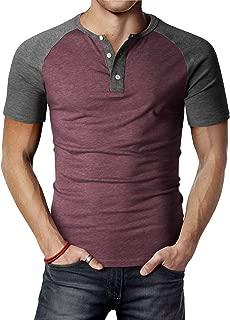 Men's Casual Slim Fit Henley T-Shirt Short Raglan Sleeve T-Shirt