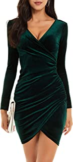 Womens Wrap V Neck Long Sleeve Velvet Bodycon Ruched...