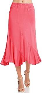 Fashion California Womens Elastic Waist A-Line Ruffle Skirt (S-XXXL)