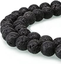 BRCbeads Black Lava Gemstone Loose Beads Well Polished Round 8mm Crystal Energy Stone Healing Power for Jewelry Making