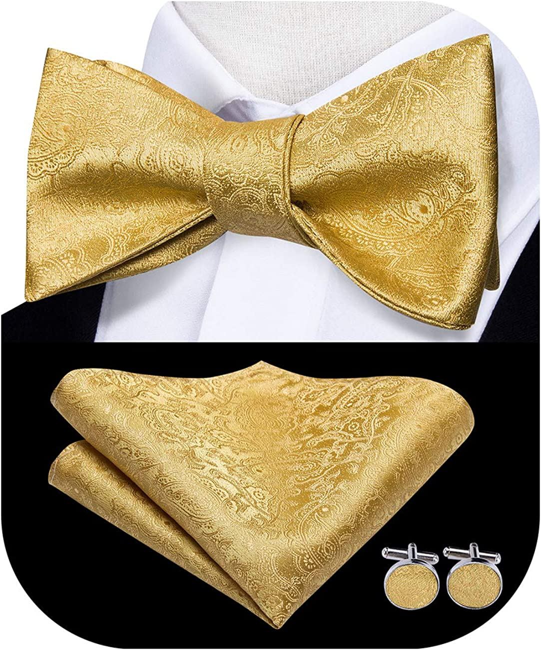 Dubulle Bow Ties for Men with Pocket Square Cufflinks Set for Wedding Tuxedo
