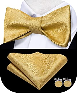 Self Bow Ties for Men with Pocket Square Cufflinks Set for Wedding Tuxedo