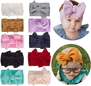 10 Pack Big Hair Bow Baby Headbands Knot Headwrap Nylon Elastic Head Wraps for Newborn Infant Toddler Hair Accessories