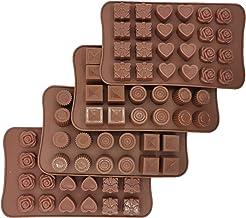 4 عبوات من قوالب حلوى الشوكولاتة، 6 أنماط غير لاصقة من الدرجة الغذائية، 96 تجويف حلوى الخبز قوالب مكعبات الثلج صناعة الحلو...