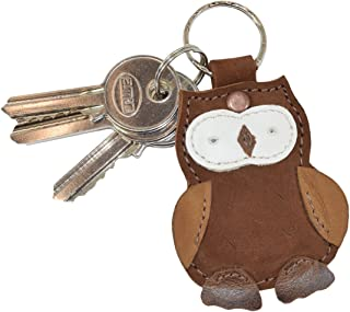 Critter Keychain Rustic Leather Animal Key Ring Holder Handmade by Hide & Drink :: Owl