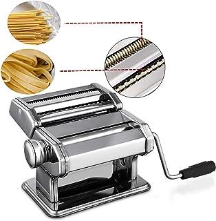 Pasta Maker Machine Stainless Steel Pasta Roller Machine Includes Pasta Cutter Hand Crank Lasagna Fresh Noodles for Home Kitchen (Sliver)