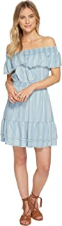 BB DAKOTA womens Coco Denim Striped Off The Shoulder Dress Casual Dress
