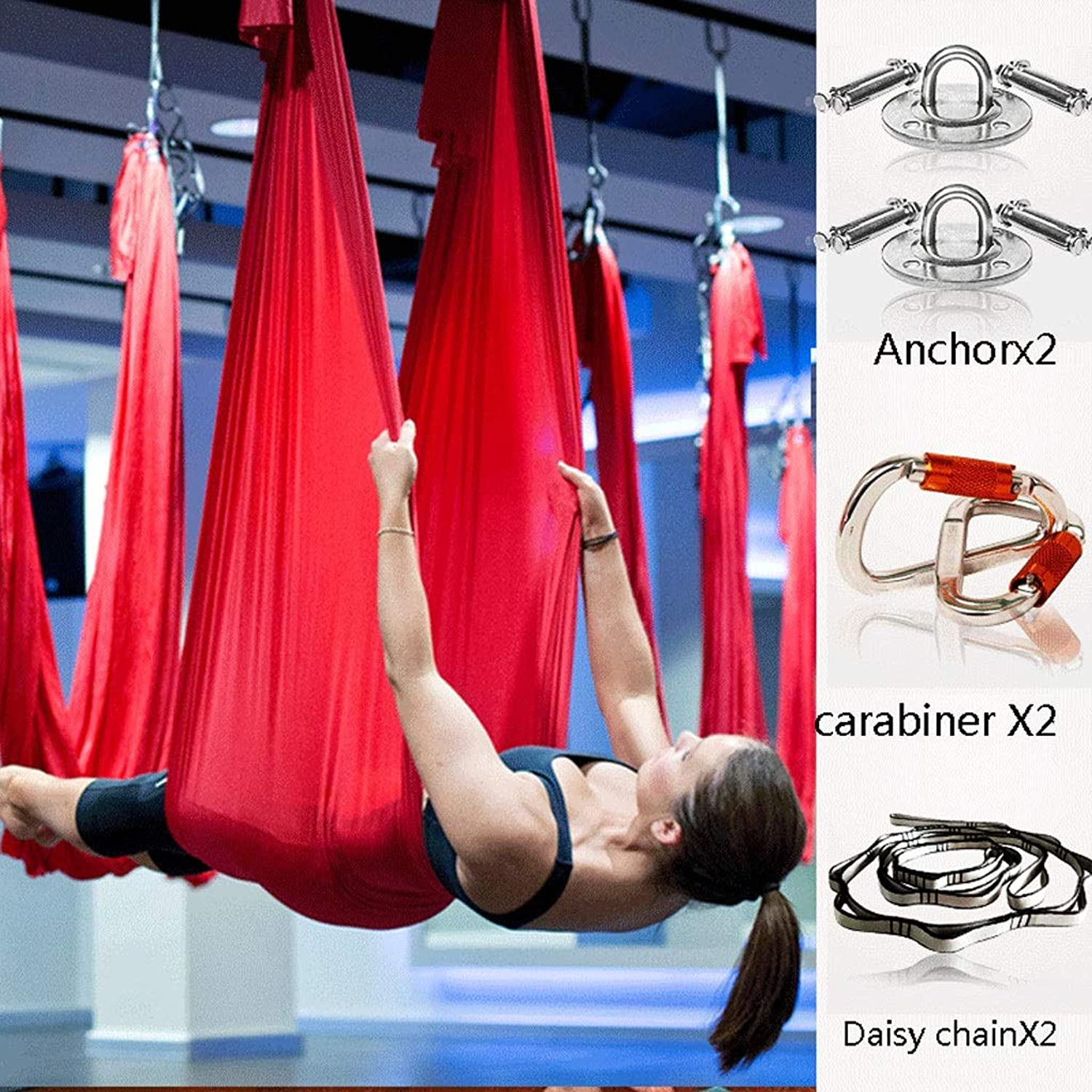 Aerial Antigravity Yoga Hammock 5.5 Yards, Aerial Pilates 100% Nylon Fabric Yoga Swing Set Include Carabiner, Daisy Chain, Inversion Tool, Inversion Exercises for Air Yoga (color   Red)