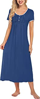 Hotouch Womens Long Sleepdresses Night Shirt Short Sleeve Round Neck Nightgown with Pretty Ruffles S-2XL