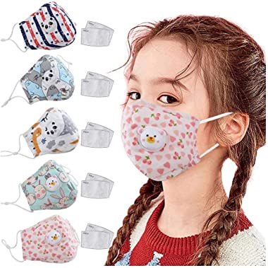 Bridaer Kids Reusable Face_Mask with Breather Valve + Filter, Cute Cartoon Pattern, Breathable Comfy Cotton Cloth Covering, Anti-Haze Dust Pollution Protection, Outdoor & School Safet Protect