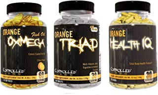 Controlled Labs Overall Health Bundle, 30 Servings Orange Triad, 90 Count Orange Health IQ, 120 Count Orange Oximega Fish ...