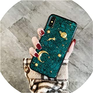3D Moon Saturn Phone Cases for iPhone X Xr Xs Xs Max 6 6S 7 8 Plus Space Planet Glitter Soft Silicon Case Capa,Green,for iPhone 8