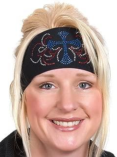 Open Road Biker Gear Head Wrap: Womens Wide Headbands: Biker Chick Headwear: Cross (6 Colors)