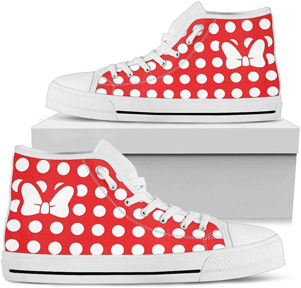 Mouse Bow Minnie Canvas Shoes Hand Made Premium Quality Womens High//Low Top