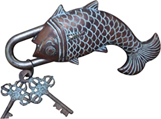 Aakrati Antique finish Door Pad Lock of Fish shape Figure multi color - unique door hardware for safety with two antique k...