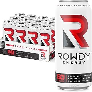 Rowdy Energy Drink Cherry Limeade, 16 fl oz, Pack of 12 - 160 mg Caffeine, Electrolytes, Vitamins B6 & B12