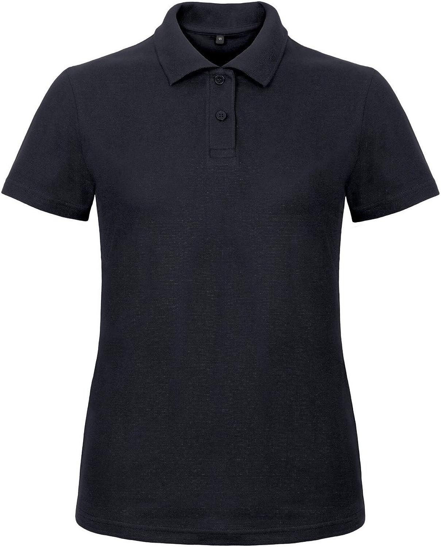 B&C Womens/Ladies ID.001 Plain Short Sleeve Polo Shirt (XL) (Navy)