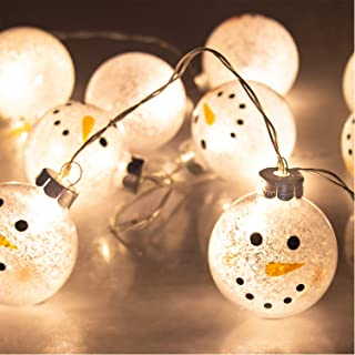 ITART Snowman Ball String Lights Cute Christmas String Lights Battery Operated 10 LEDs Lighted 2.36-Inch Ball Christmas Décor Indoor Outdoor Home Garden Festival Wedding Party Starry Lighting