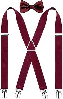 Alizeal Men's 4 Clips Suspenders and Pre Tied Bow Tie Set Solid Color