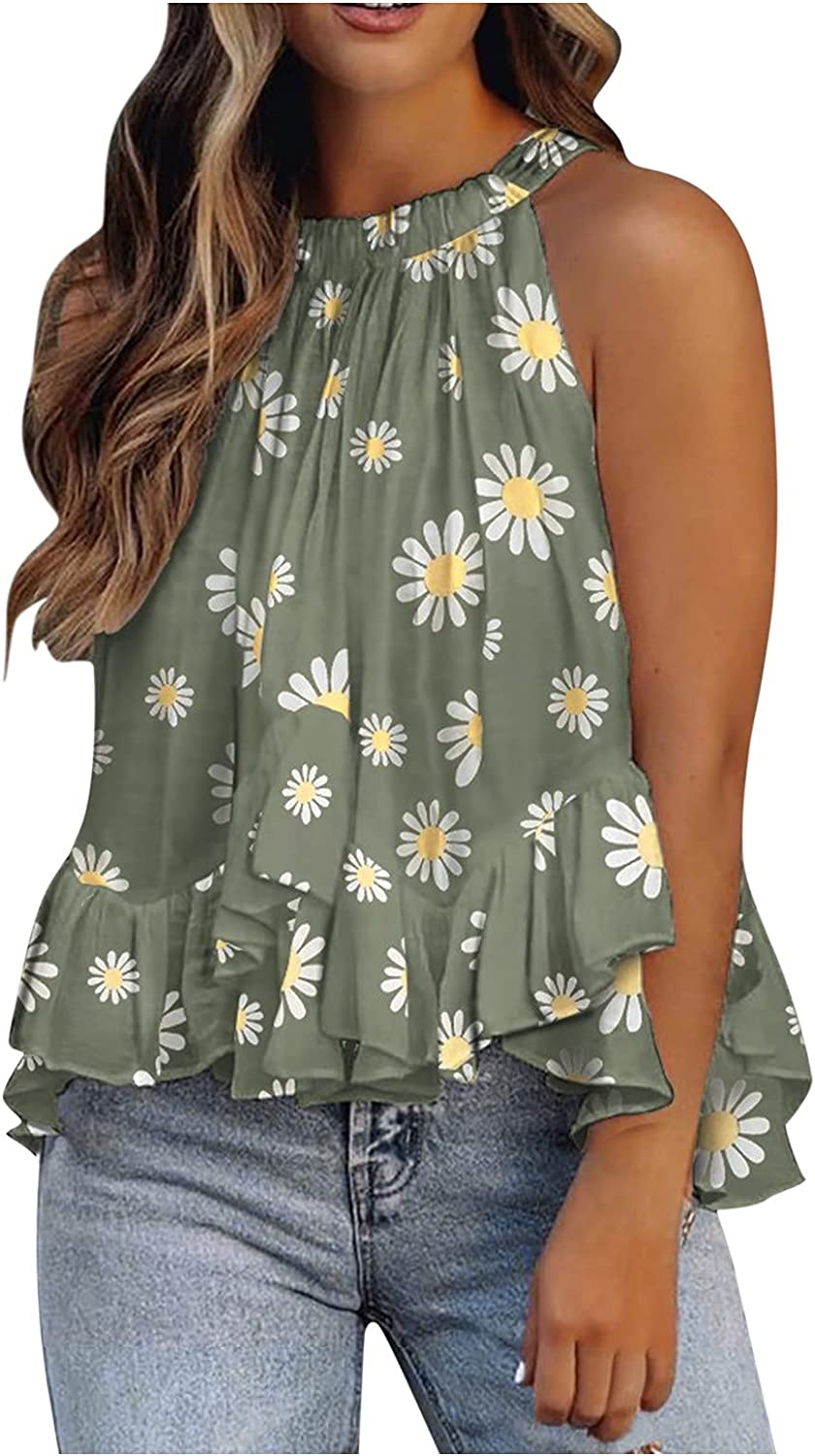 Tank Tops for Women,Summer Fashion Sleeveless Halter Neck Tee Tops Blouse Dot Printed Casual Tank Tops