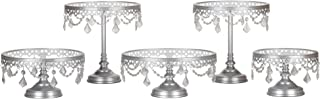 Amalfi Decor Cake Stand Set of 5 Pack, Dessert Cupcake Pastry Candy Cookie Display for Wedding Event Birthday Party, Round Metal Pedestal Holder with Glass Plates and Crystals, Silver
