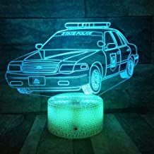3D Night Light 3D LED Police car Mock-up lamp Children Colorful Bluetooth Speaker Music Lights for Friends Holiday Christmas Gifts