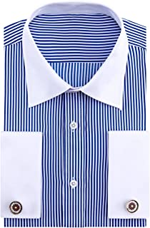 French Cuff Regular Fit Contrast White Collar Stripe Dress Shirts (Cufflink Included)