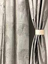 RIDHAAN Long Crush Fabric Tree Design Punching 7 feet Size Curtain R (Grey) Set of 2 Curtains