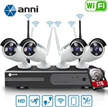 Anni 1080P 4CH HD WiFi NVR Kit Wireless Security Camera CCTV Surveillance Systems,(4) 2.0MP Megapixel Weatherproof Wireless Bullet IP Cameras,65ft Night Vision,P2P,WiFi Camera System,with 1TB HDD