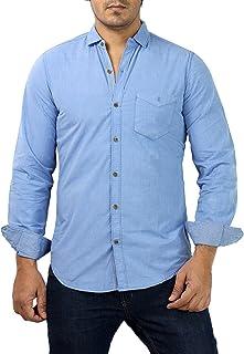Rapphael Men's Casual Full Sleeve Cotton Plain Shirt(Blue)