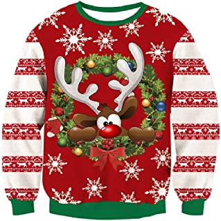 RAISEVERN Men Ugly Christmas Sweater Funny Xmas Pullover 3D Print Long Sleeve Sweatshirt for Holiday Party