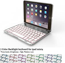 iPad Mini 4 Keyboard Case with 7 Colors Backlit 135 Degree Adjustable Angles Addprime Silver Aluminum Alloy Shell and Back Plate Chocolate ABS Button Bluetooth 3.0 Wireless Keyboard for iPad mini4