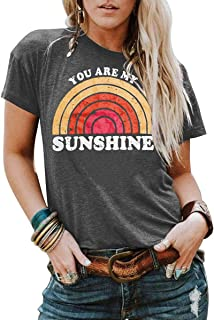 Womens You are My Sunshine T Shirt Short Sleeve Printed Graphic Tees Casual Summer O Neck Tops Shirts