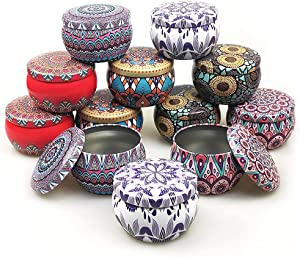 12 PCS - 5OZ Candle Tins, DIY Candle Making Tins Holder Storage case for Dry Storage Spices, Camping, Party Favors, Candy and Sweets Gifts