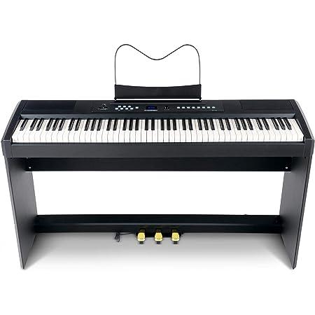 McGrey SP-100 - Piano compacto (piano eléctrico portátil con 88 teclas, mecanismo de martillo, conector para auriculares, función de grabación y base ...
