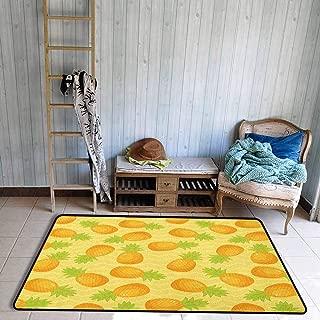 Skid-Resistant Rug,Yellow Chevron Tropical Juicy Pineapple Pattern on Simple Geometric Backdrop,Anti-Static, Water-Repellent Rugs,5'3