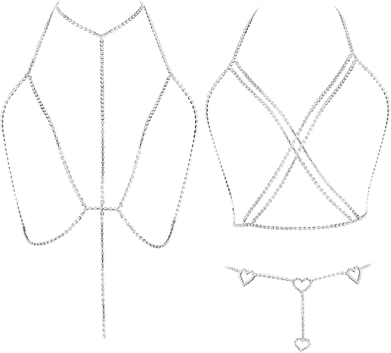 YOVORO 3PCS Sexy Rhinestone Body Chain for Women Waist Belly Chain Bikini Bra Chain Beach Body Jewelry