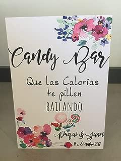 Cartel Candy Bar, que las calorías te pillen bailando. Tamaño grande con soporte Grande para Bodas, comuniones y eventos