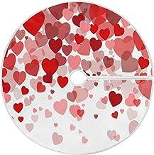 """STAYTOP 35.4"""" Valentine's Day Christmas Tree Skirt,Valentine's Day Red Heart Suede Xmas Tree Skir Suitable for Valentine's..."""