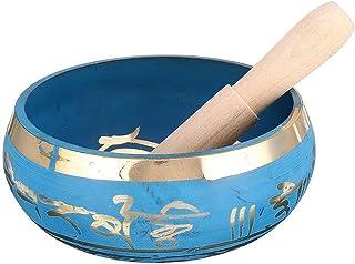 PPCP Nepal Tibetan Singing Bowl with Traditional Design Buddhist Prayer Flag Buddha Copper Handmade Music Bowl Blue (Size...