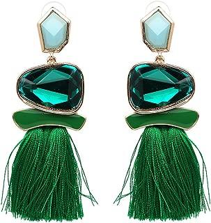 Vintage Drop Dangle Earrings Boho Statement National Style Tassel Earring Water Heart Leaf Shaped Alloy Long Bohemian Drop Earrings for Women Girls